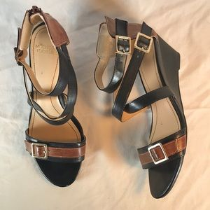 MOOTSIES TOOTSIES Black/Brown Strapy Wedge Shoes